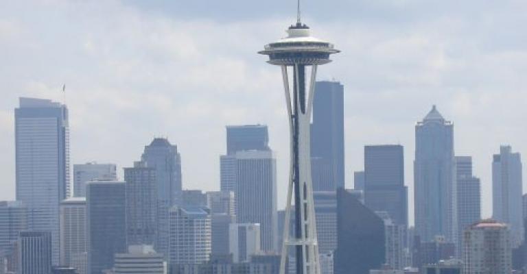 """Fotografía de Washington: Seattle skyline con el \""""Space Needle\"""""""